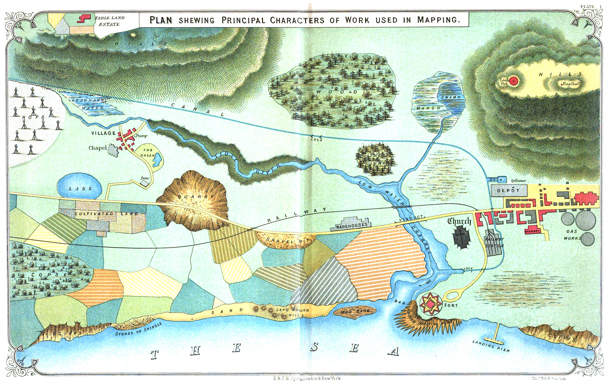 """""""Plan shewing principle characters of work used in mapping.""""  A map of nowhere showing everything."""