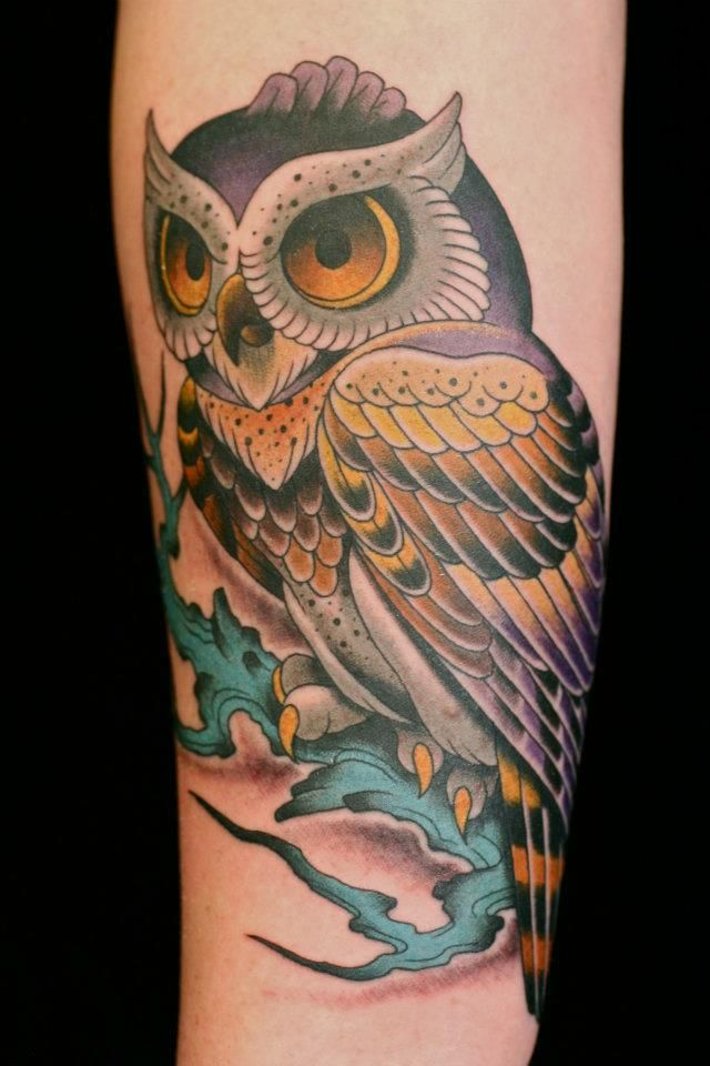 61bf6be1d Darcy Nutt owl tattoo - love the use of color | Ink | Traditional ...
