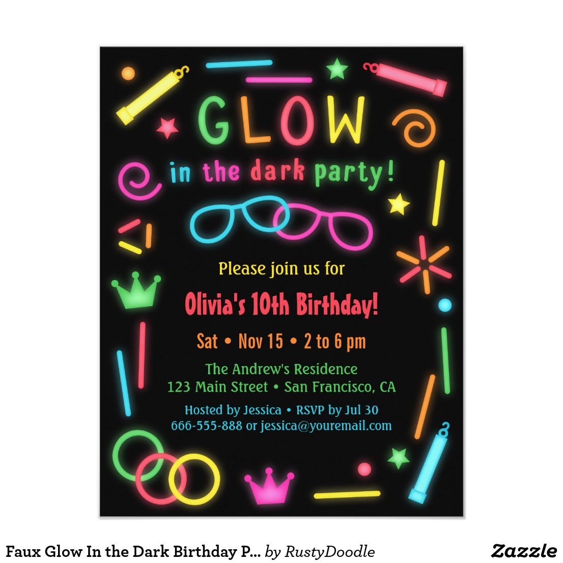 Faux Glow In the Dark Birthday Party Invitations | Neon glow, Glow ...
