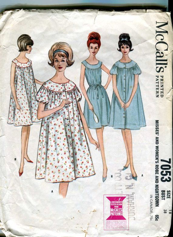McCalls 7053 - Vintage 60s Nightgown and Robe Pattern - Plus Size ...