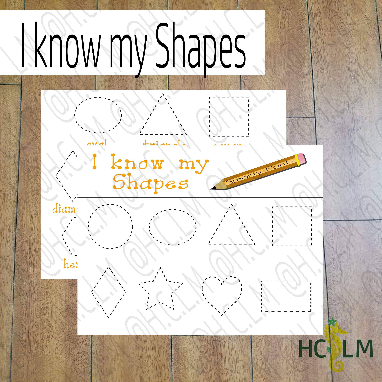 I Know My Shapes Kids Tracing Sheet Shapes Tracing Sheet