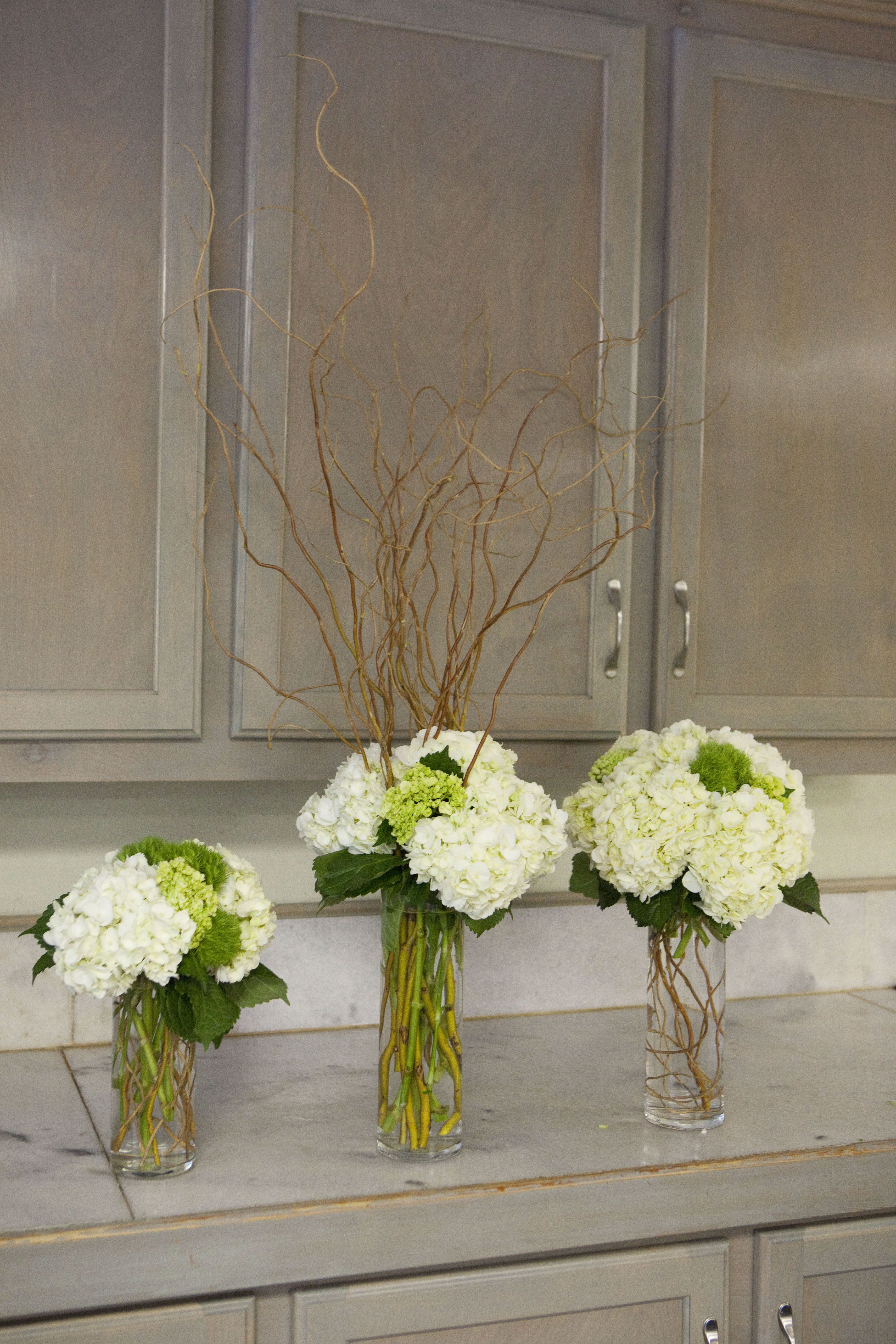 Table arrangement centerpieces made at Greenlife Grocery in Asheville  with willow, hydrangea and green ball dianthus