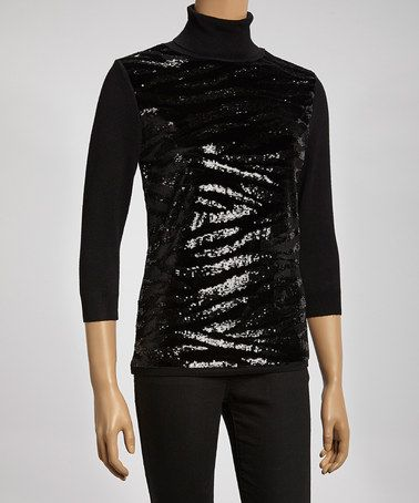 Take a look at this Black Zebra Sequin Turtleneck by Colour Works on #zulily today!