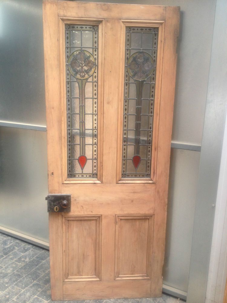 Reclaimed Antique Victorian Pine Leaded Stained Coloured Glass Internal Door