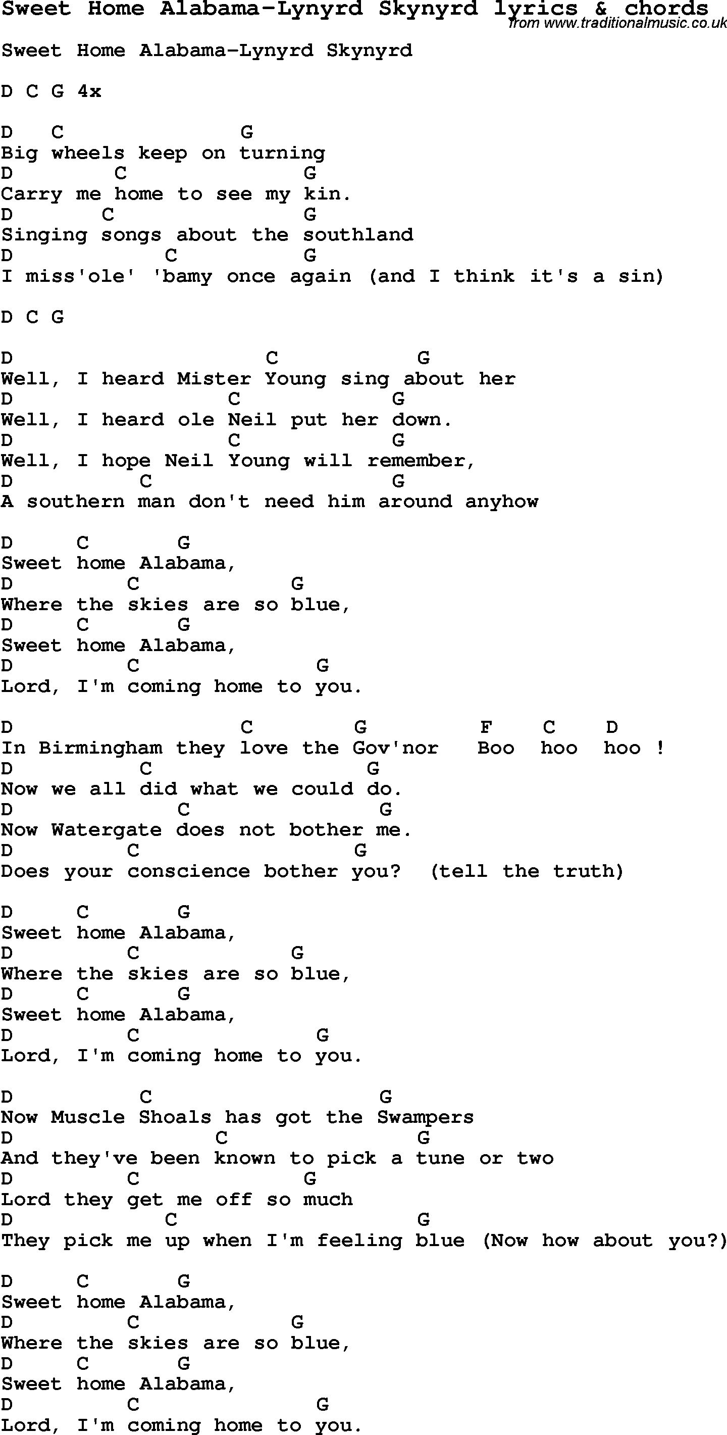 Traditional song with lyrics and chords from american popular vernacular music, with downloadable pdf for printing. Sweet Home Alabama Chords Dietamed Info Sweet Home Alabama Lyrics Sweet Home Alabama Chords Sweet Home Alabama Guitar