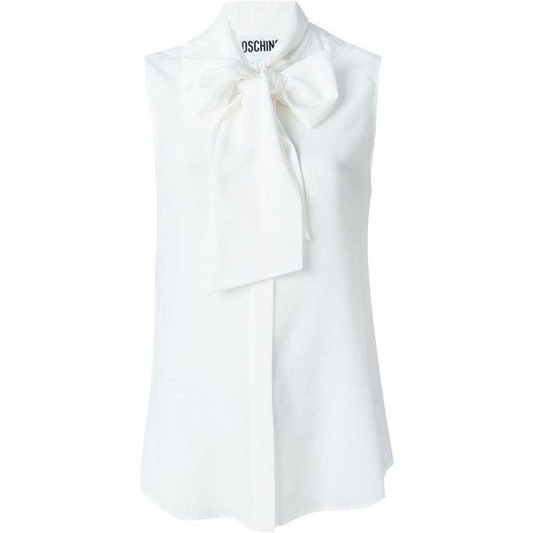 00f3f3f7e8997f Moschino pussybow blouse (€335) ❤ liked on Polyvore featuring tops ...
