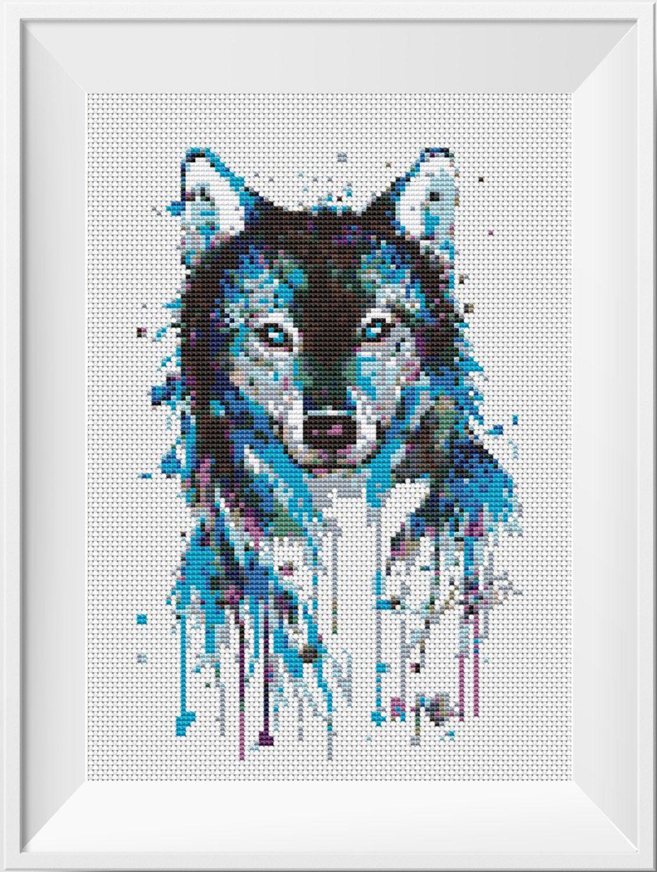 Wolf Cross Stitch Pattern Watercolor Art Counted Cross Stitch