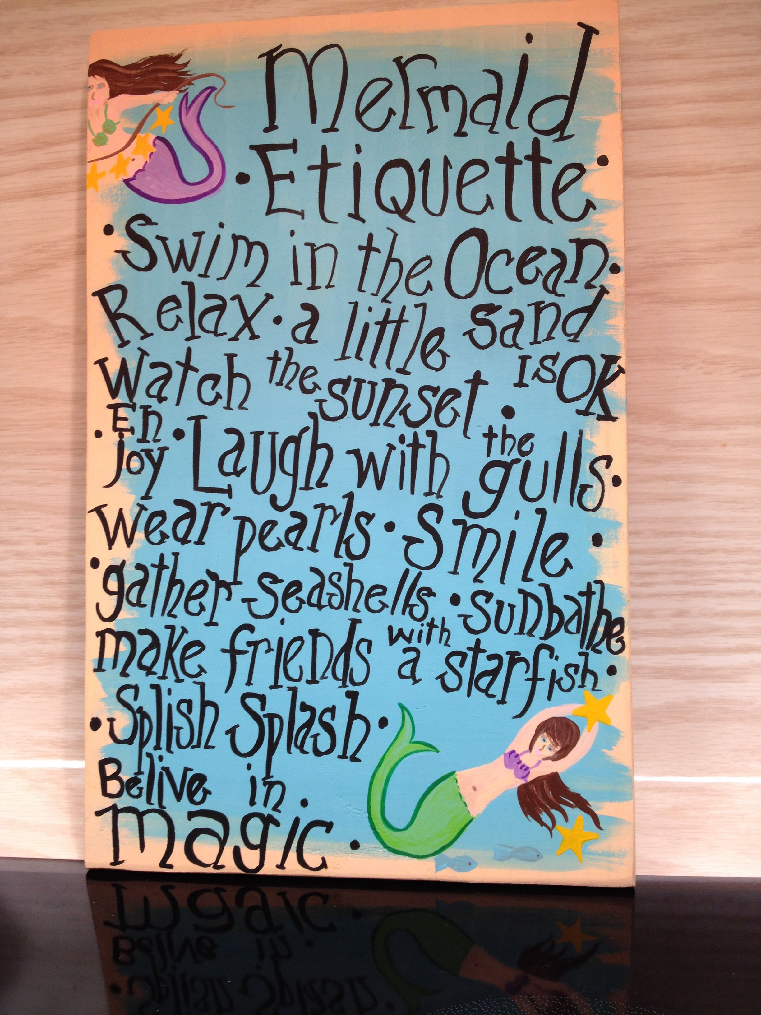 Hand painted wooden sign mermaid etiquette for sale 15