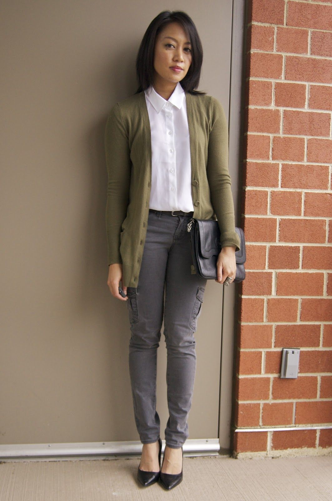 grey pants white top black shoes and earthy sweater | Style ...