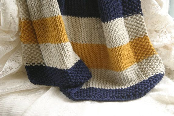 Blue Cream And Yellow Striped Baby Blanket By Knitternicole Knitted Baby Blankets Baby Knitting Striped Baby Blanket