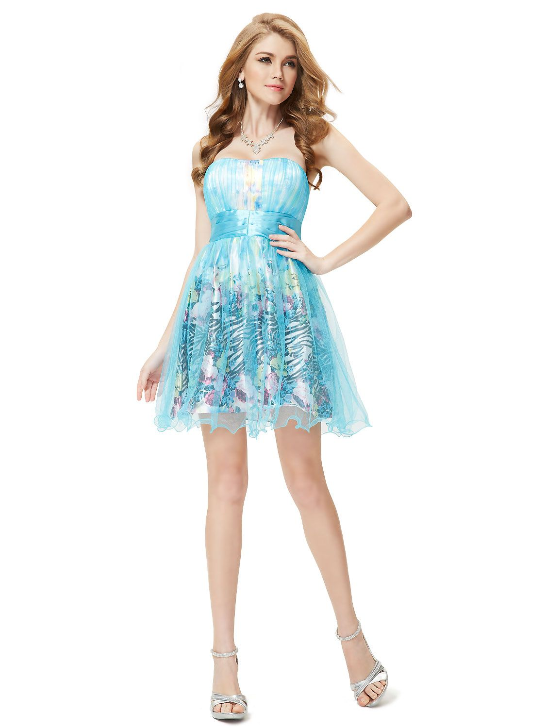 Strapless party dress with blue sheer mesh outer layer and floral ...