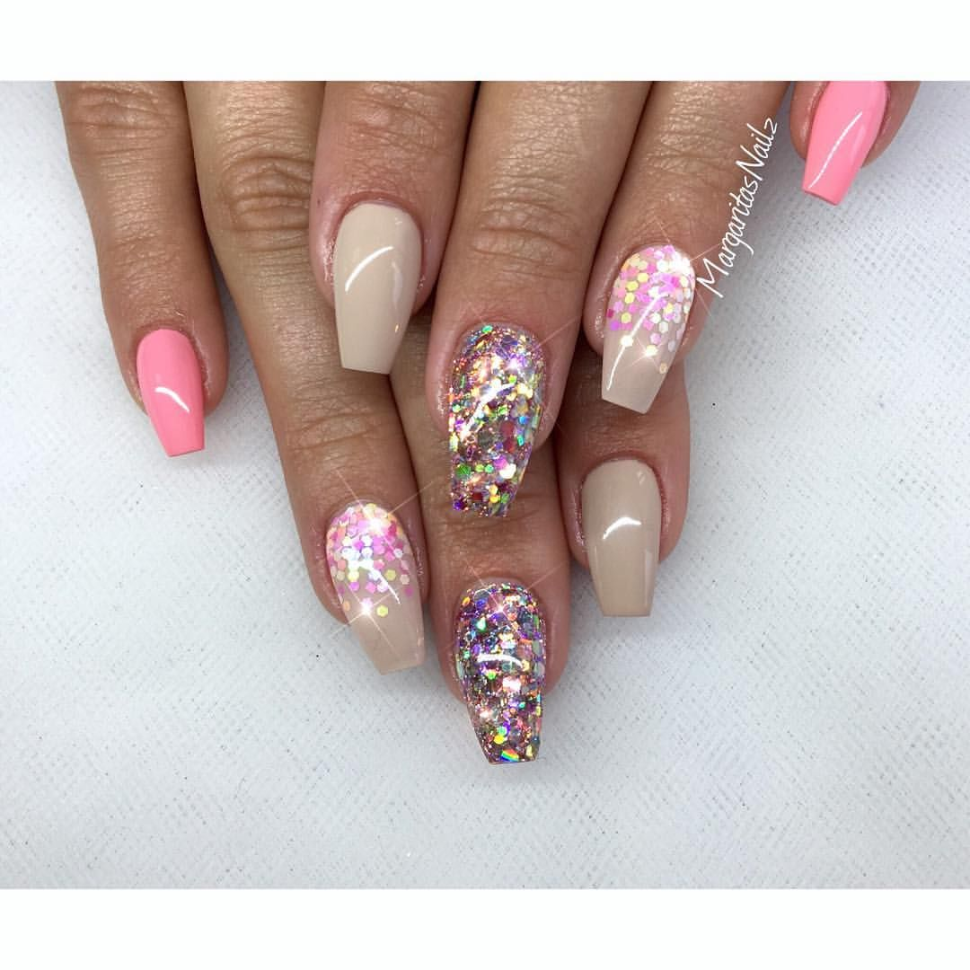 Glitter Nail Ideas For Summer: Nude And Glitter Coffin Nails Summer Nail Design