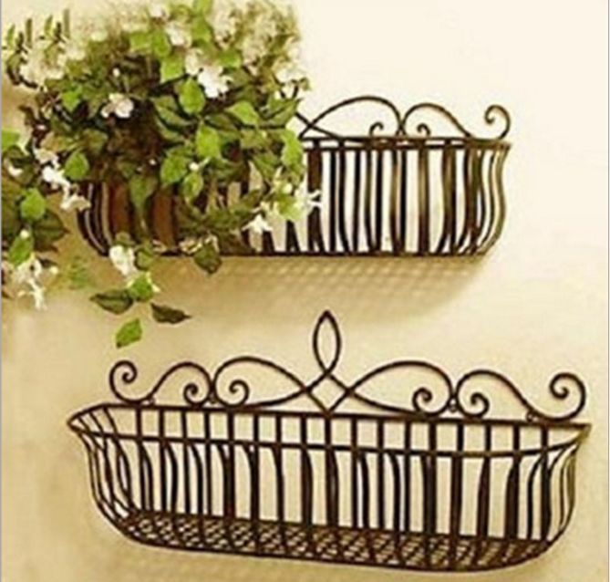 Garden Balcony Wrought Iron Wall Mount Flower Pot Plant Holder Stand Window Box Iron Planters Wrought Iron Decor Iron Decor