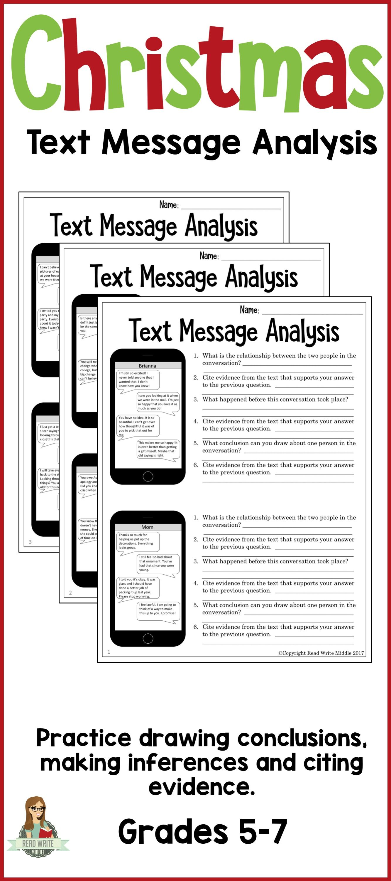 worksheet Citing Evidence Worksheet christmas text message analysis inferencing and citing evidence evidence