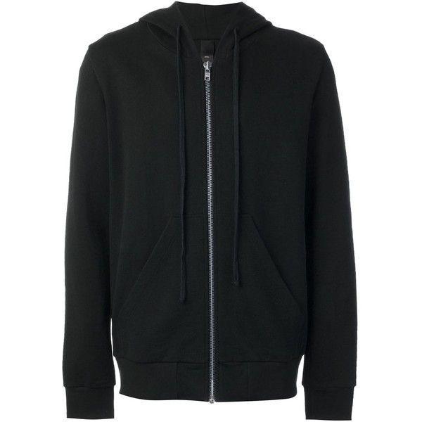 Odeur Zipped Hoodie ($223) ❤ liked on Polyvore featuring tops, hoodies, black, sweatshirt hoodies, zip hoodie, unisex tops, cotton hoodie and cotton hooded sweatshirt