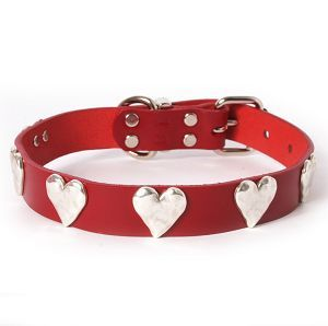 Silver Hearts Leather Dog Collar