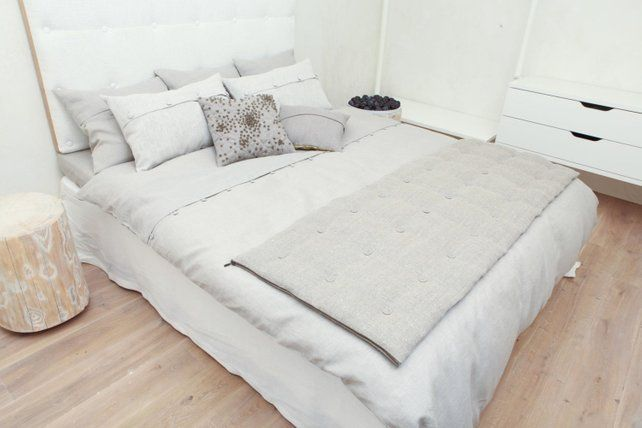 Linen Bedspread Quilt For Bed Gray Etsy