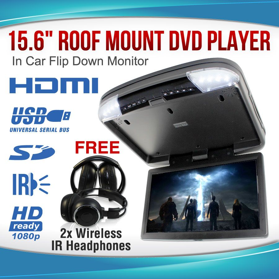 """15.6"""" DVD player Roof mount In Car Flip Down Monitor HDMI"""