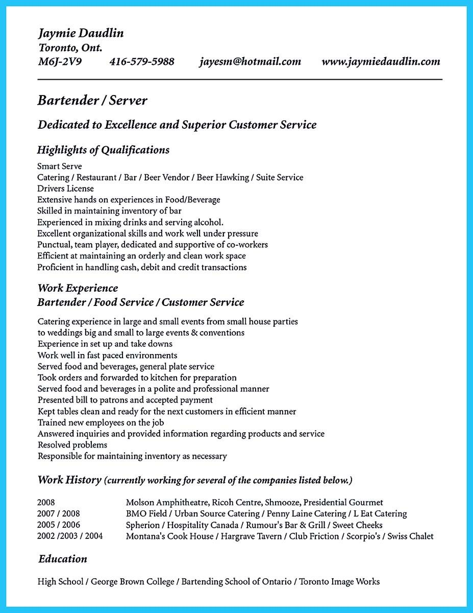 Awesome Impressive Bartender Resume Sample That Brings You To A Job