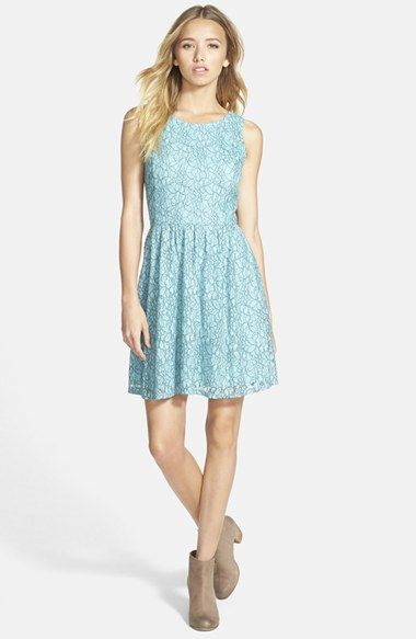 Frenchi® V-Back Lace Skater Dress available at #Nordstrom | wedding ...