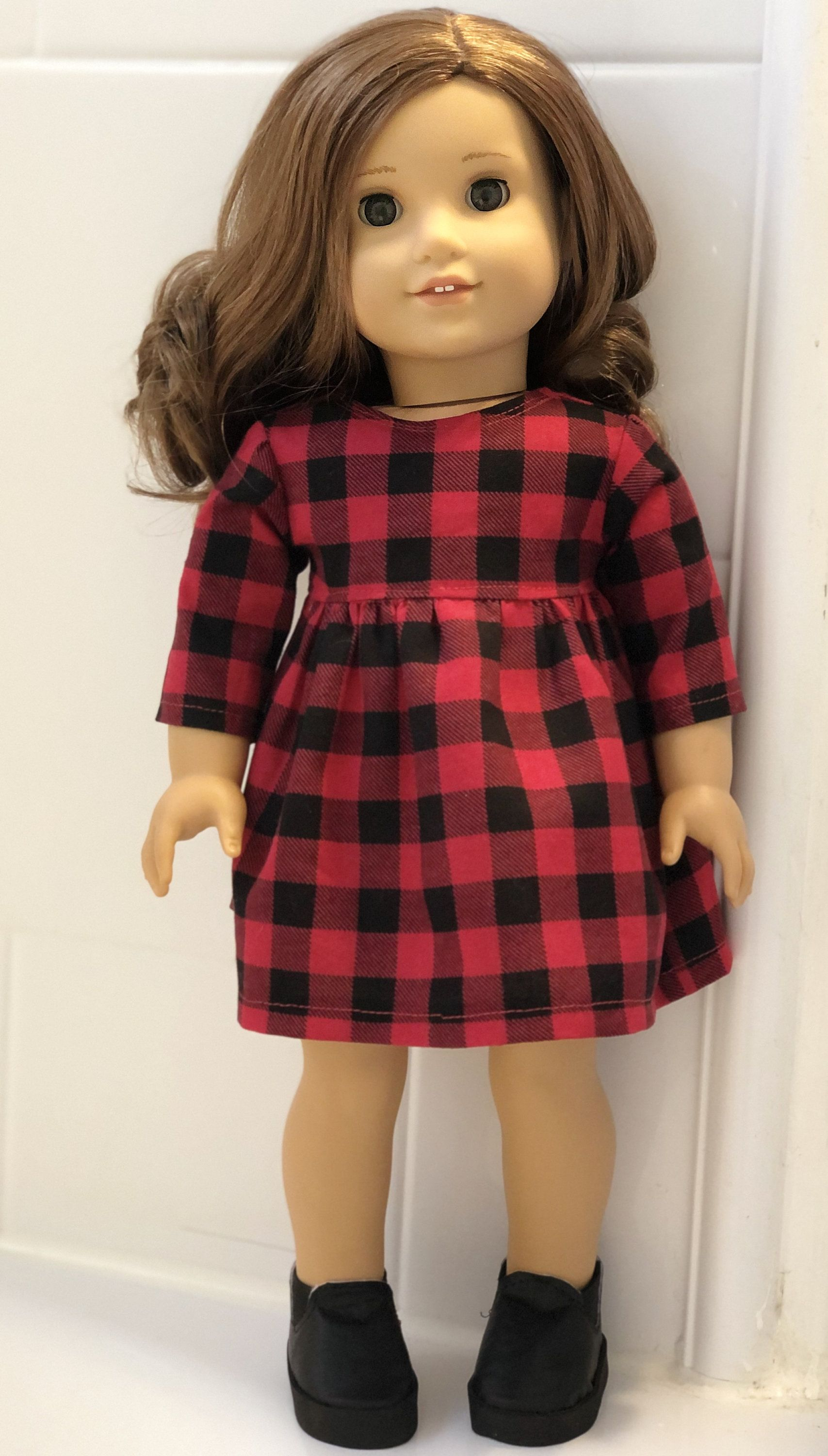 18 Inch Doll Clothes - Red and Black Check Baby Doll Dress and Ankle Boots for Girl Dolls Such as THE Most Popular Girl Doll #18inchdollsandclothes