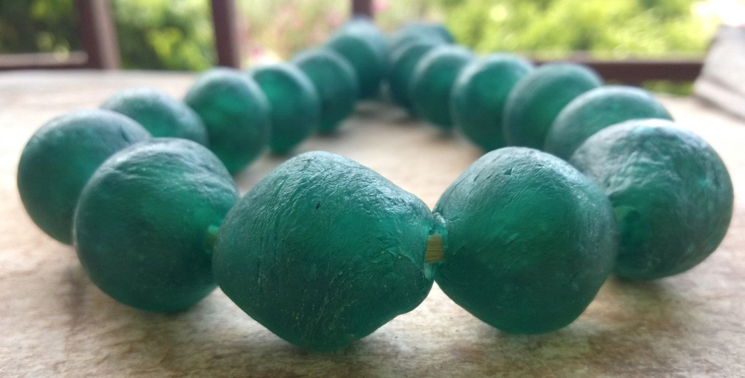 Reserved For H Dark Aqua African Recycled Glass Beads Five 25 26