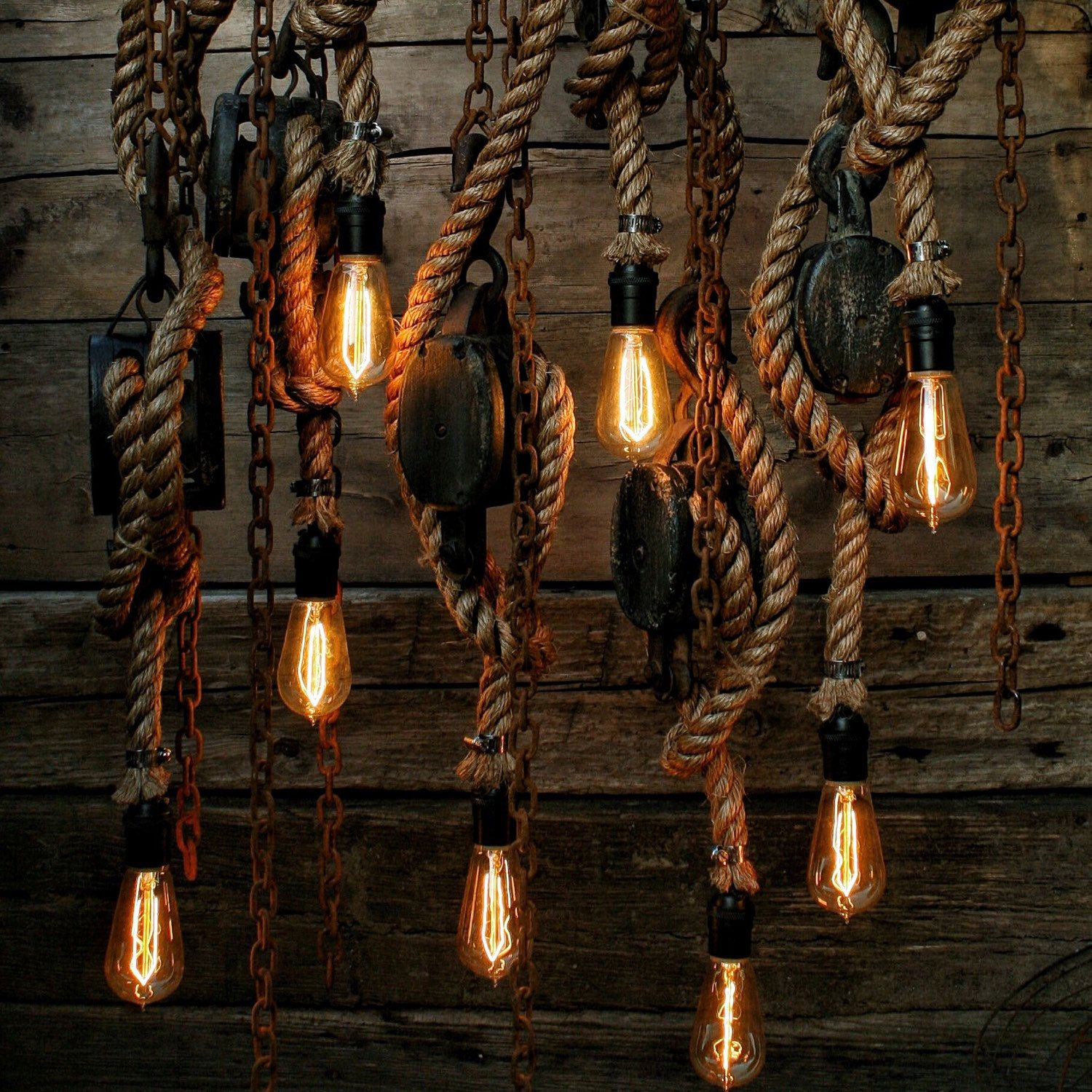 The set sail pendant light rustic wooden barn pulley lamp pulley light barn wood pendant light manila rope light rustic chandelier industrial aloadofball Choice Image