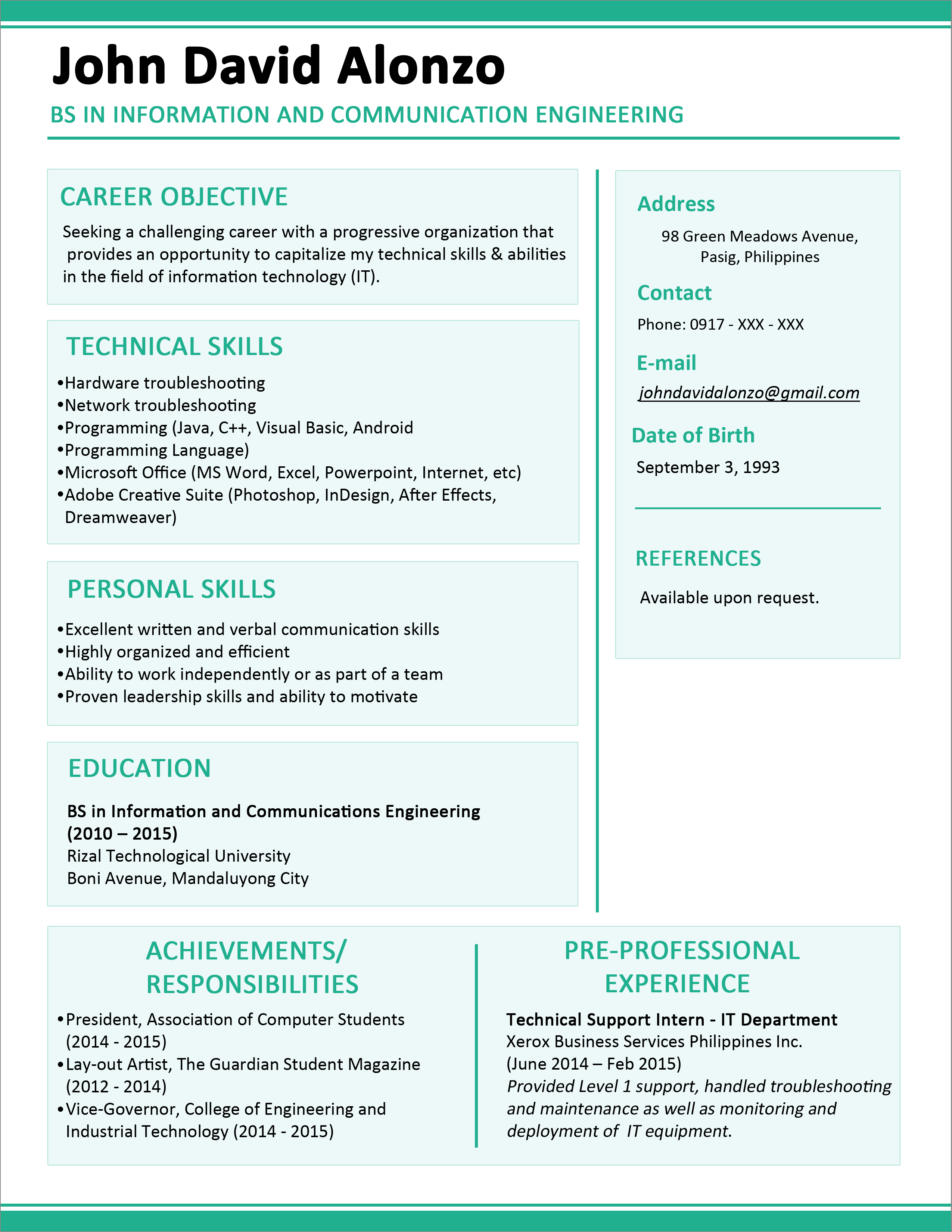 Perfect Resume For Freshers Pdf