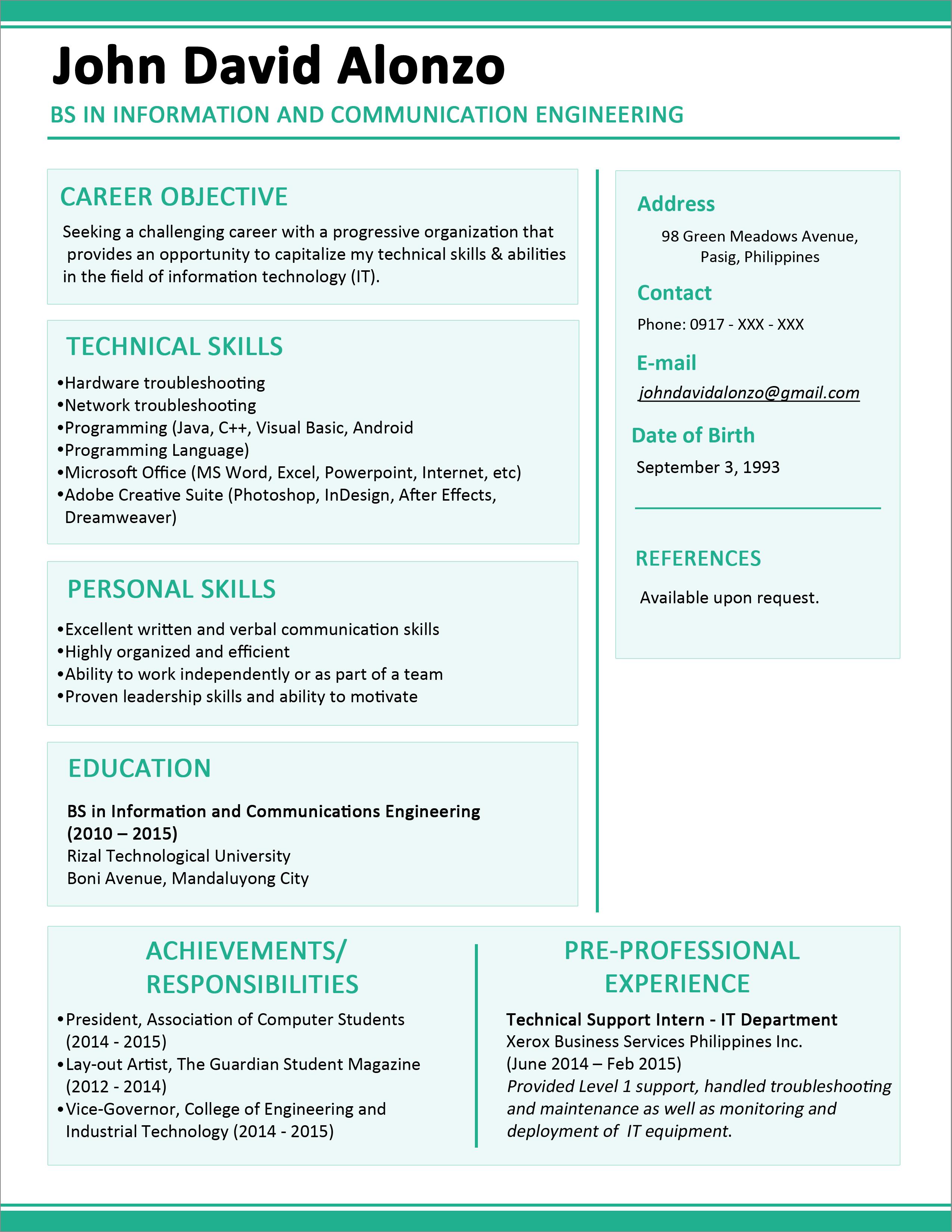 Resume Example For Fresh Graduate Teacher