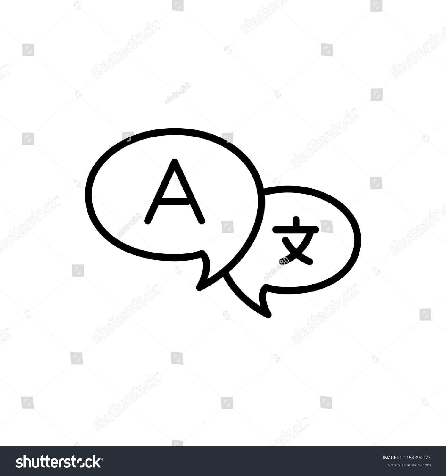 Thin line icon of translate, conversation, chatting  Editable vector