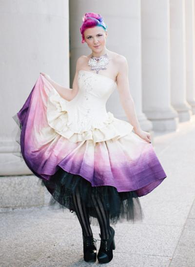 Purple Ombre Tea Length Steampunk Wedding Dress Via 12 Dresses To Show Off Your Tattoos