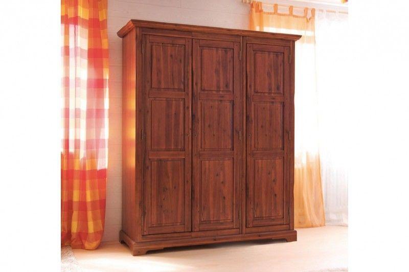 Kleiderschrank Siena Akazie Massiv Braun Gebeizt Lackiert Badezimmer Schrank Schrank Holz Wohnzimmer