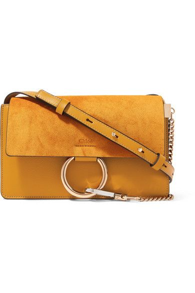 5b45a1dd3 CHLOÉ | Faye Small Leather And Suede Shoulder Bag - Sunflower Yellow |  $1,390 | The warm saffron hue of Chloé's 'Faye' bag will work so well with  the ' ...
