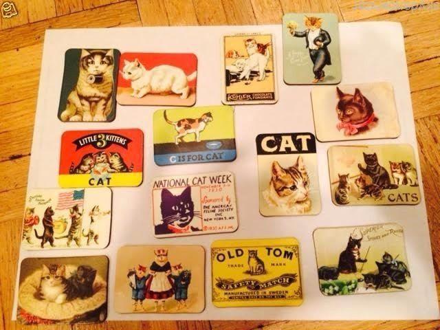 ASSORTED CAT MAGNET VTG REPLICA ADVERTISING RAINBOW BRIDGE DONATION RESCUE  #cat