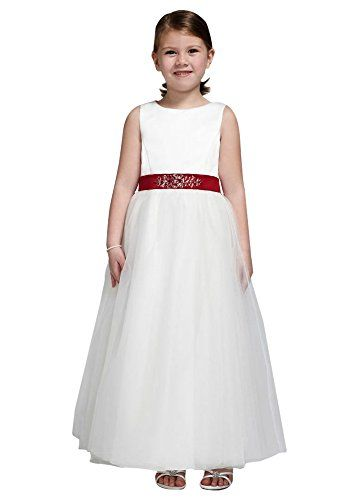 ddc9417bb5a Satin Flower Girl Communion Dress with Tulle Skirt Style S1038 White 4    See this great product.(This is an Amazon affiliate link and I receive a  commission ...
