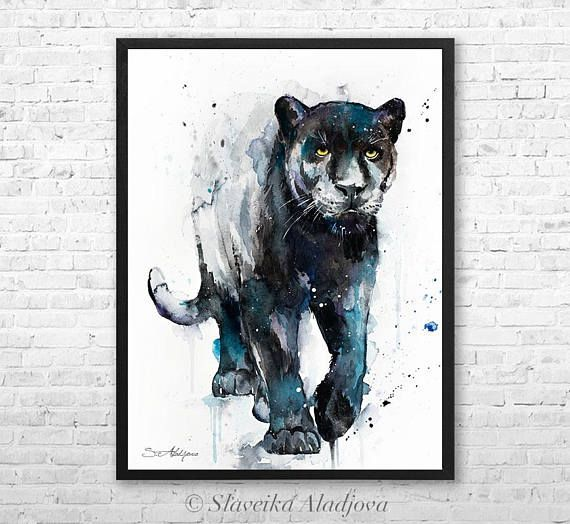 fe20558118a94 Black panther watercolor framed canvas by Slaveika Aladjova, Limited ...