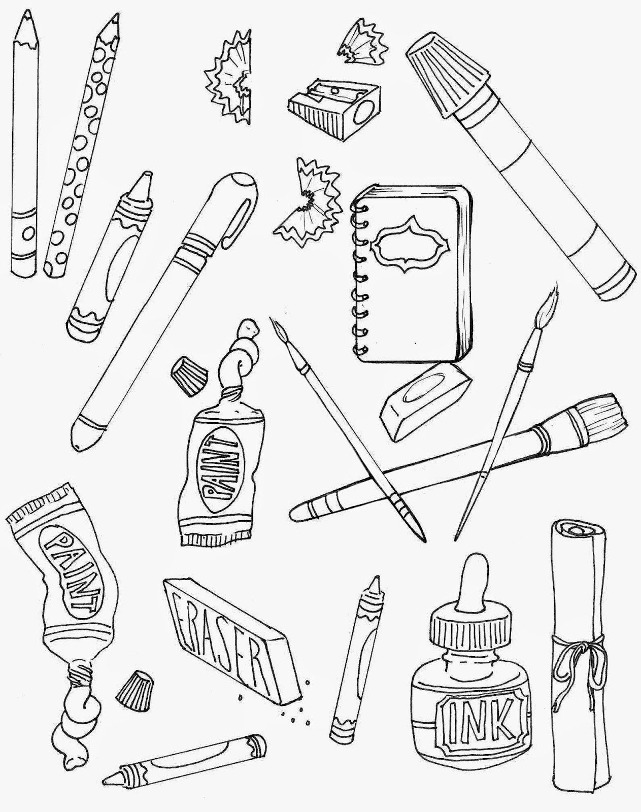 Sunday Fun Art Supplies Coloring Page Art Supplies Drawing Art
