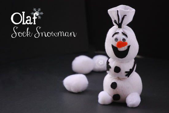 Olaf Sock Snowman Tutorial Sock snowman, Snowman crafts and Olaf