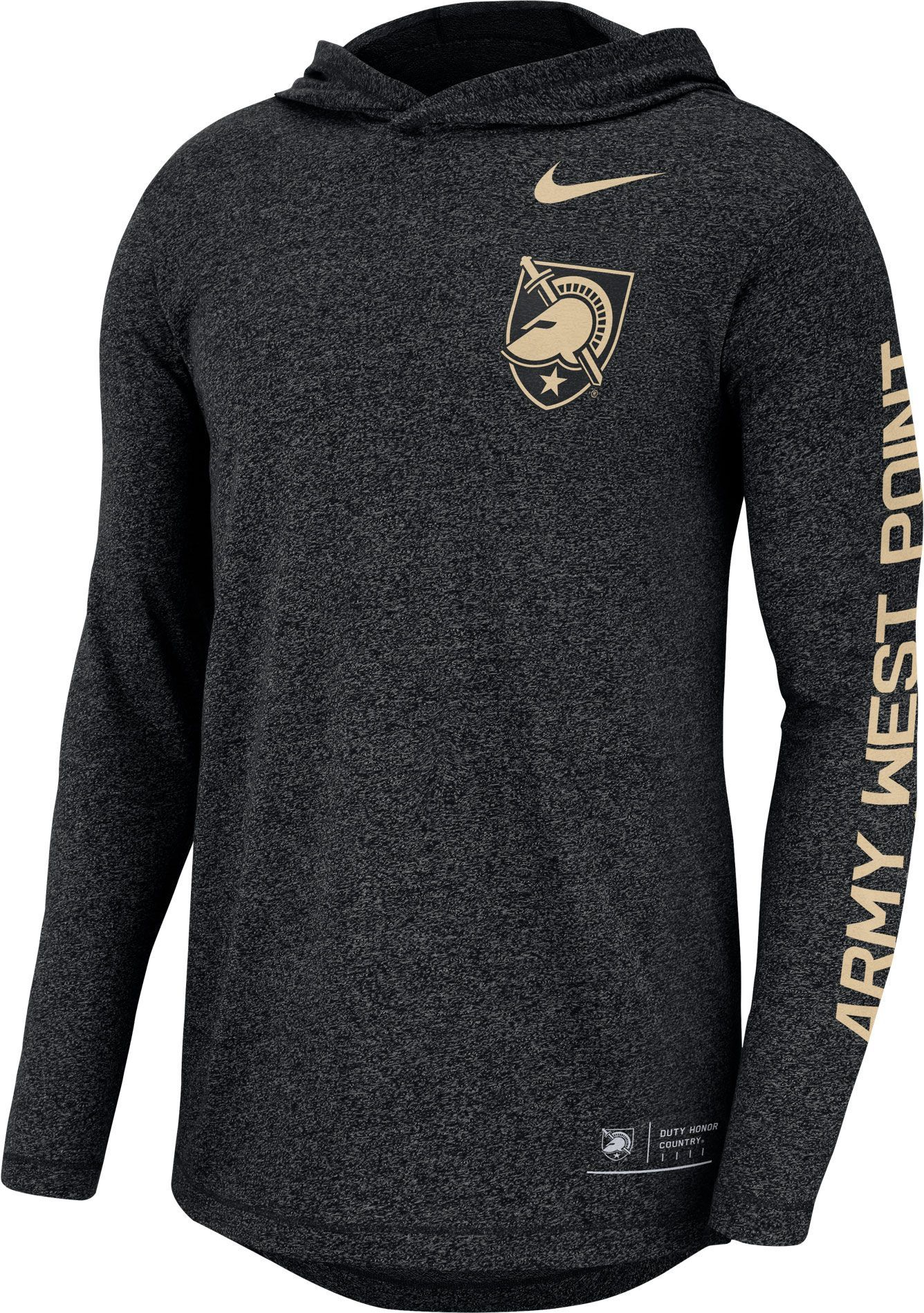 aed2ebc8b Nike Men s Army West Point Black Knights Marled Long Sleeve Hooded Sideline Army  Black T-Shirt