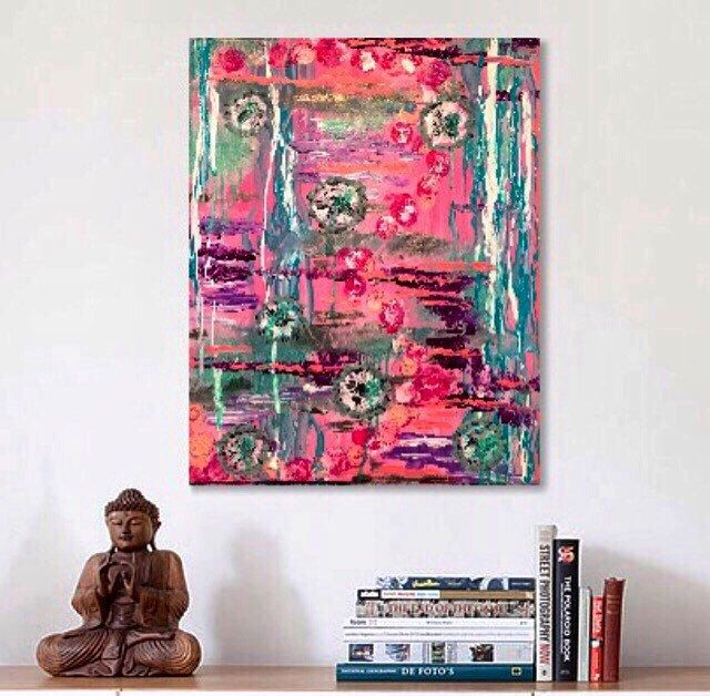 A personal favorite from my Etsy shop https://www.etsy.com/listing/469737309/original-painting-pink-seafoam-teal