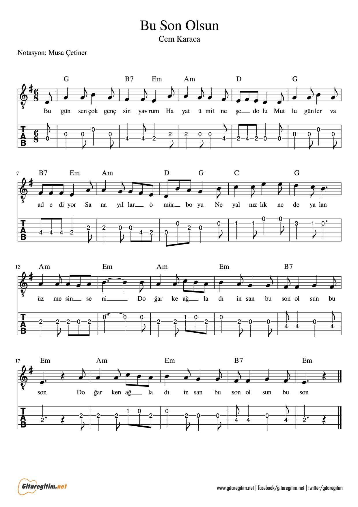 Bu Son Olsun Gitar Nota Tab Gitaregitim Net Muzik Notalari Notalara Dokulmus Muzik Flut