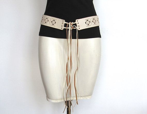SOLD / #Vintage 1970s Boho / Hippie Wide White Leather Belt / Fringe Ties by VelouriaVintage