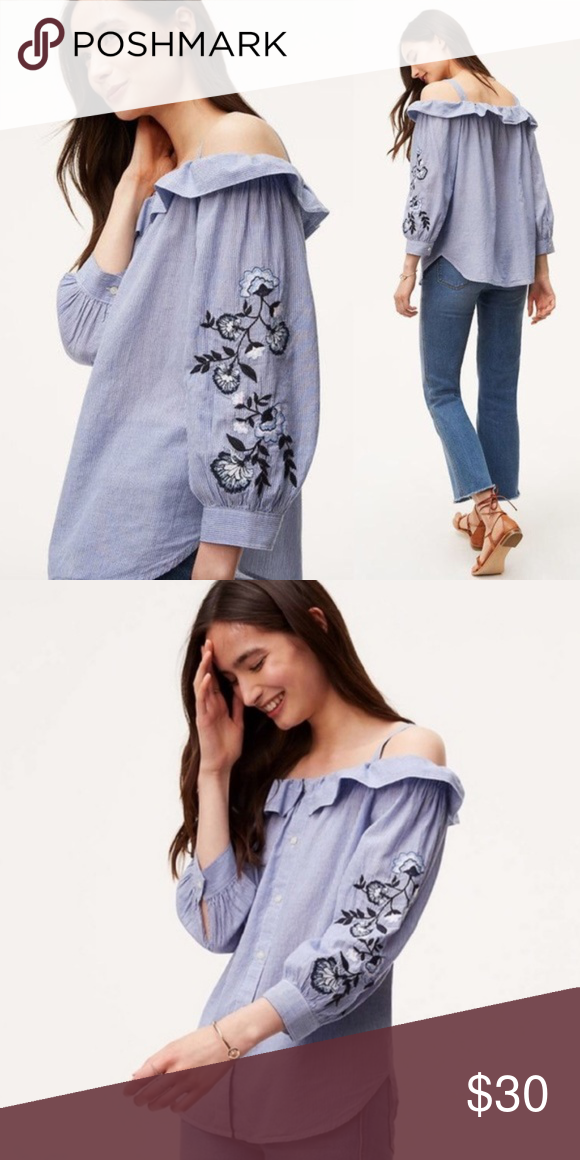 782b69bd6f3 Ann Taylor LOFT Embroidered Blue Off Shoulder Top Blue and white ...