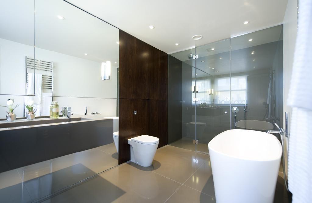 Mirrored Wall Bathroom