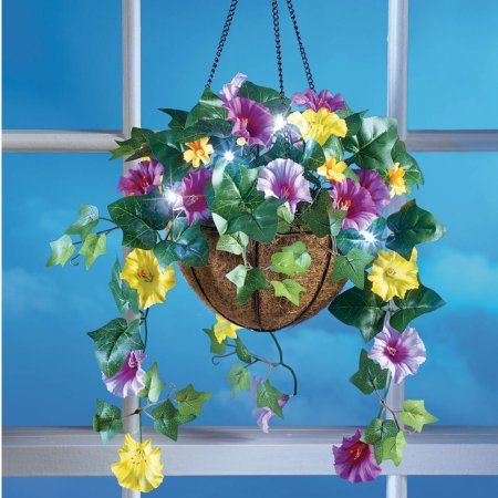 Collections Etc Led Lighted Morning Glory Hanging Flower Basket