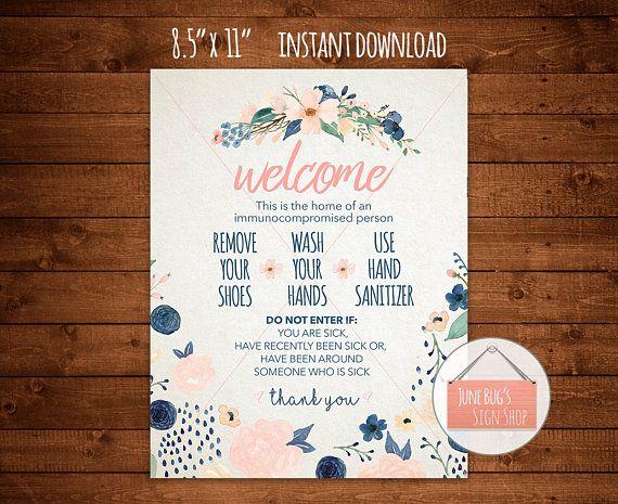 Wash Hands Welcome Sign Printable Instant Download Front Welcome Sign Hospital Door Signs Office Door Signs