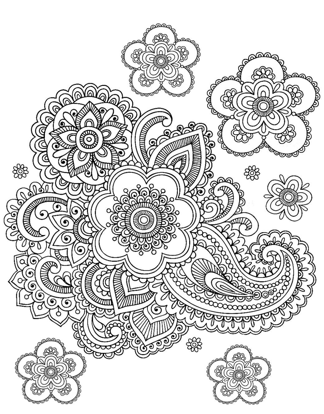 Bursting Blossoms Flower Coloring Page Spring Coloring Pages
