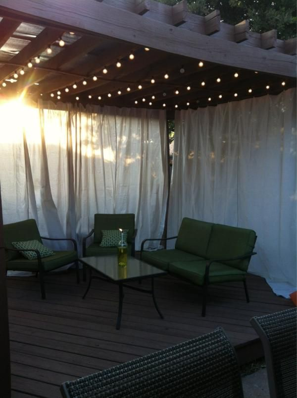 Drop Cloths As Curtains, Ikea Dignitet Curtain Wire, Frosted Lights From  Target, Citronella