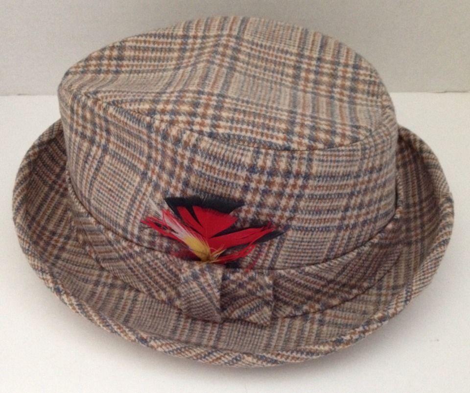 14afab703ed602 Vintage #Pendleton Wool Hat Mens Size 7 1/8 Fedora Pure Woolen Plaid w  Feather #Fedora