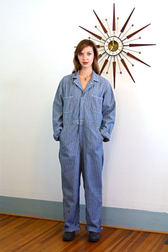 cc4c0fb4e7c Vintage 40s to 50s Onepiece Jumpsuit Work Man Coverall Blue Gray Denim  Herringbone Long Sleeve Romper Mens Overall 1950s Garage Mechanics Suit by  ...